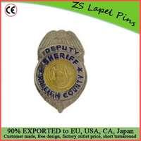 Custom quality award gift safety pin back California County Sheriff Badge
