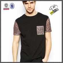 Custom design wholesale clothes, Leopard printing black man tshirt, Exquisite crew neck plain t-shirt printing