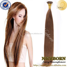 factory price I tip shape pre bond 100% virgin indian remy hair extensions