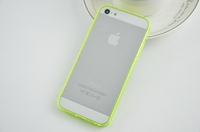 Transparent Clear Soft TPU Frame Bumpers + Acrylic Back Cover Case for iPhone 5 5S 5G