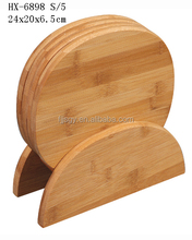 4 pieces round bamboo chopping board set, bamboo cutting board set cheese board set