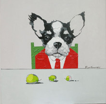 dog animal oil painting on canvas