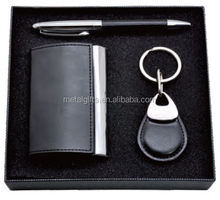 personalized leather business card holder gift set