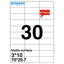 SINMARK Matte surface 64mm*28mm perforated sticker paper