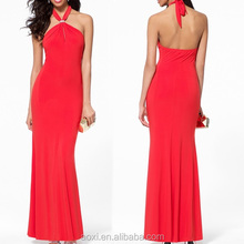 OEM Custom-made china wholesale products clothing new Spandex sexy evening dresses alibaba red halter party dress