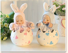 ceramic baby shower decorations head shaking doll pink and blue baby toy music box