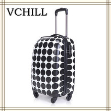 popular polka dots trolley bag luggage 4 wheels trolley ABS+PC luggage