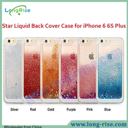 High Quality Transparent Plastic 3D Glitter Quicksand and Star Liquid Back Cover Case for iPhone 6 6S Plus 5.5 inch