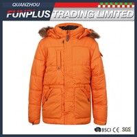 plus size boys orange anti cold windproof coat with fur and hood