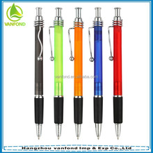 Top selling hotel slim plastic ball pen with rubber grip and matel clip