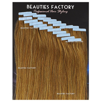 "Beauties Factory 20"" Tape in Skin Weft 100% Remy Human Hair Extensions #6/27 S.MIX Golden Brown/Butterscotch"