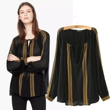 ME60068W fashion long sleeve color golden and black blouse top type