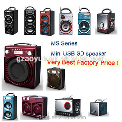Box shaped Portable mini amplifier Stereo Speaker System Rechargeable Battery & USB/SD Port