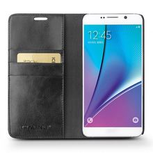 QIALINO Stylish Super Quality Top Layer Leather Cartoon Case For Samsung For Galaxy Note Note 5