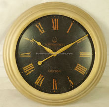 round antique gold metal frame wall clock