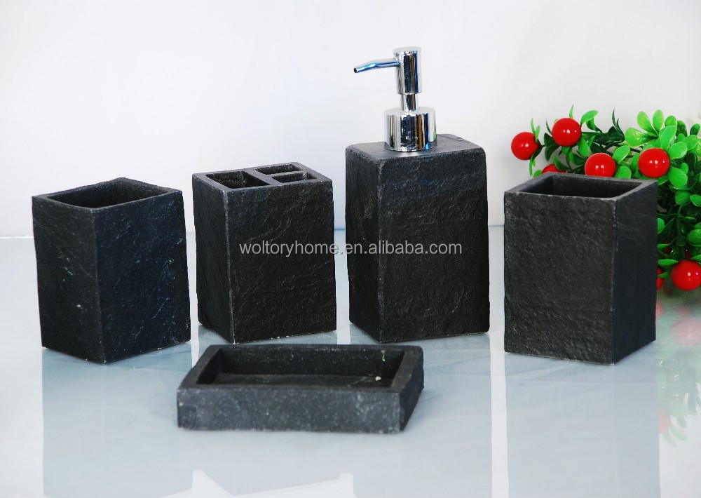 Artificial stone house ware bathroom bath accessories set for Stone bathroom accessories sets