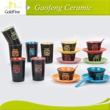 white porcelain custom printed ceramic tea cups and saucers