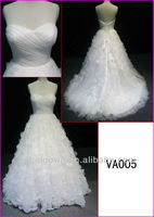 2014 corset back fairy tale princess strapless customized organza A-line wedding gowns/bridal dress with sweetheart VA005