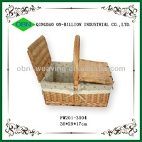 Cheap empty wicker picnic baskets with handle with lid