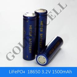 LiFePO4 3.2V 1500mAh 18650 battery with long cycle life