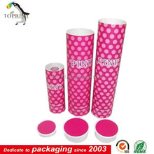 Hot Pink Dot Custom Cylinder Shaped Paper Gift Box In China Factory