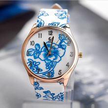 flower print waterproof oem watch leather men stock product women leather watch SY-35024