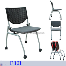 simple design good quality uphostery seat metal frame folding public chair with castors