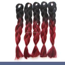 ombre color jumbo braiding hair ,100 kanekalon jumbo braid synthetic hair,black&burgundy two colored synthetic braiding hair