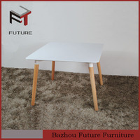 korean white square mdf top wooden beech legs dining table