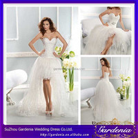 Best Selling Unique Design White Sweetheart Neckline Lace Applque A-line Tulle Corset High Low Wedding Gowns (SA196)