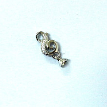 A0050 Jewelry Fansy Spring Clasp CZ Rhodium Plating 17x9mm with 2 End Caps