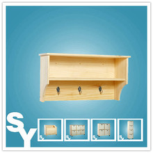 Unfinished Sanded Wooden Wall Display Shelves with Hooks