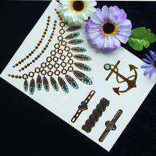 2015 get better life fashion design gold silver flash tattoo temporary foil gold metallic tattoo