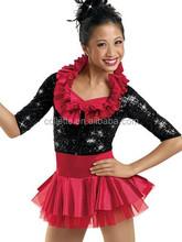 MBQ347 Black Red Tassel satin Bustle leotard Dance wear adult sexy sequin Jazz costume