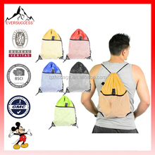 Hot Sell Drawstring Beach Bag Mesh Gym Backpack Travel Tote Beach Bag (ESX-LB097)