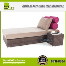 Modern outdoor synthetic rattan furniture chaise lounger