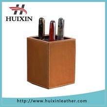 vertical genuine leather pen holder, pencil holder, pen container