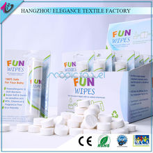 22 x 24cm 10pcs tube towels in customized display box packing super absorbant magic compressed coin tissue with water