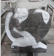 Himalayan blue granite heart shaped angel monument Tombstone/gravestone/headstone from China