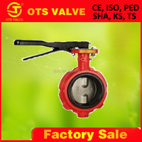 BV-SY-481 JIS10K/ANSI 150# /BS4504/GB PN10/16 RED 10 inch manual butterfly valve with hand lever casting iron
