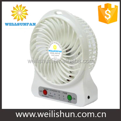 140x106x42MM White Color With LED Light Rechargeable Fan