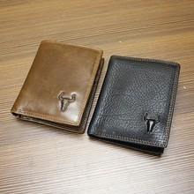 Genuine Leather Cowhide Men Short Bifold Wallet Wallets For Men With Detached Card Holder And Zipper Pocket