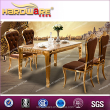 Top grade malaysia metal dining table for 4seaters and high back chairs made in CHINA