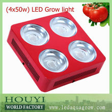integrated 4*50w bridgelux/ cree led grow light panel 200w reflector hood aluminum mini led grow lights for plants growth