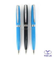 Bulk production shiny color metal souvenir ballpoint pen for promotional