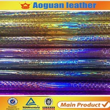 Cheap wholesale manufacture rexine leather shiny snake for shoes women