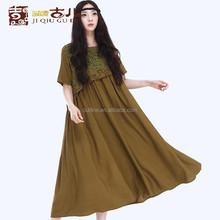 Jiqiuguer Original de la marca de lino y el algodón más tamaño largo plisado dobladillo del vestido bordado a mano para occidental personas