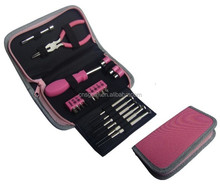 23pcs combined promotion pink tool set in pouch for women and lady