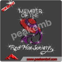 Rhinestone Transfer Red Hat Society Hotfix Iron On decorative clothes women