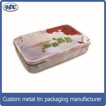 metal tin box,rectangle food packaging tin can,dongguan factory with hinged lid